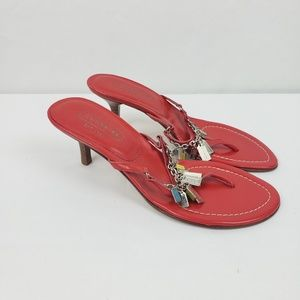 Coach Sandal Heels Thong Leather Charms #C
